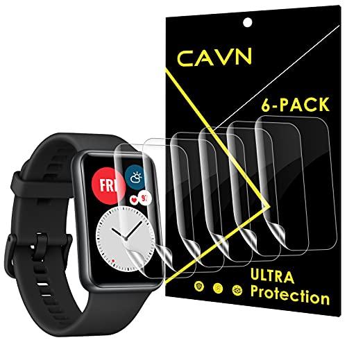 CAVN [6-Stück] Schutzfolie Kompatibel mit Huawei Watch Fit/Honor Watch ES Schutzfolie, HD Superdünn Volle Abdeckung Flexibel Bildschirmschutzfolie Anti-Kratzer Schutz Folie für Huawei Watch Fit
