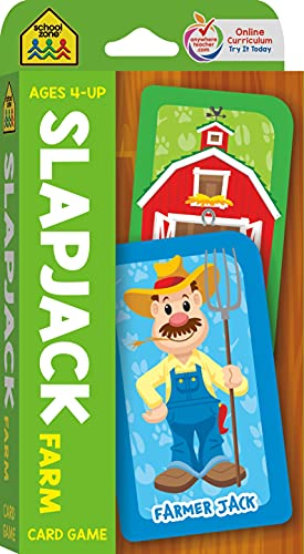 Compare Textbook Prices for School Zone - Slapjack Farm Card Game - Ages 4+, Preschool to Kindergarten, Animals, Counting, Matching, Vocabulary, and More School Zone Game Card Series Game Cards Edition ISBN 0076645050229 by School Zone,Joan Hoffman