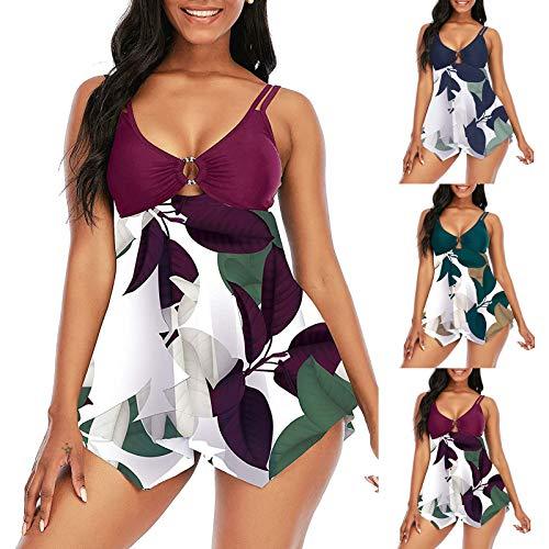2021 Nuevo Vestido de Traje de Baño Bikinis Talla Grande con Pantalones Ropa de Playa Conjunto de Bikinis Impresión Push up Tankinis Mujer Beachwear Bañador Mujer