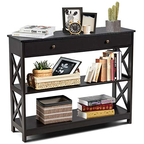 Custpromo 3-Tier Console Table X Design Bookshelf Display Rack Accent Sofa Table with 2 Drawers and Shelf for Entryway Living Room Hallway (Gray)