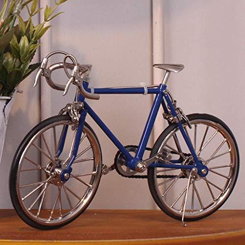JXXDDQ Metal Modelo hecho a mano de bicicletas bicicletas de hierro Artesanía de cumpleaños de la vendimia Regalos Decoración Hogar figuras decorativas dormitorio Estantería (Color : Darkblue)