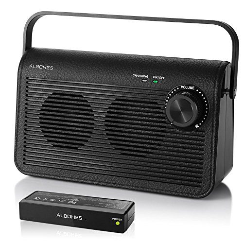 Wireless TV Speakers for Hearing Impaired, ALBOHES Portable TV Soundbox, TV Audio Speakers for Seniors Hearing Assistance Works with Headphone (Upgraded Version with 1600mAh Battery)