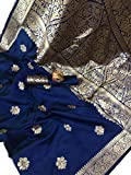 Blue Wish Women's Gold Color Zari Woven Design Banarasi Banglori Cotton Jacquard Silk-Saree with Work Blouse Piece (Nirav Radhe Krishan) K, NAVY