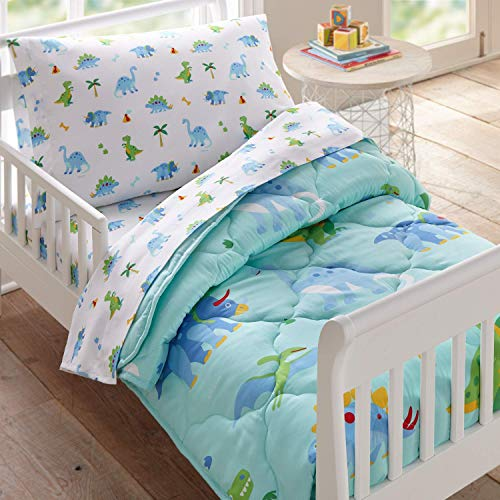 Wildkin Kids 4 Pc Toddler Bed In A Bag for Boys and Girls, Microfiber Bedding Set Includes Comforter, Flat Sheet, Fitted Sheet, and One Pillow Case, BPA-Free, Olive Kids (Dinosaur Land)