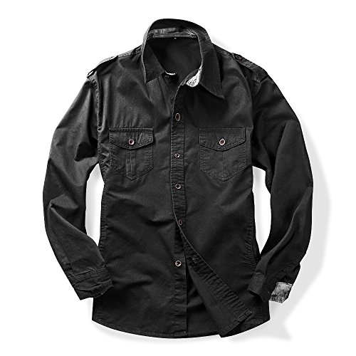 Men's Long Sleeve Military Style Cargo Tactical Work Shirt Black S