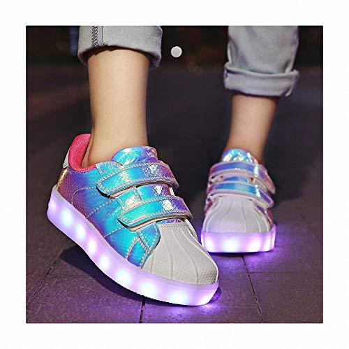 Bambini LED Lampeggiante Conchiglia Scarpe Carica USB 7 Colori Lampeggiante Scarpe Unisex Basso Leggere Che Illuminano Bambino Scarpe Lampeggiante LED Scarpe per Ragazze e Ragazzi,Rosa,32
