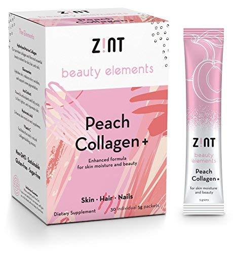 Zint Sweet Marine Collagen Powder Beauty Drink Mix (Peach): Sugar-Free Collagen Peptides Drink w/Glucosamine, Hyaluronic Acid, Vitamin C, Acai Extract (30 5g Packets)