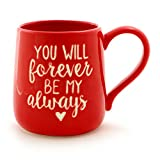 "Enesco Our Name Is Mud ""Forever Always"" Stoneware Engraved Coffee Mug, 16 oz, Red"