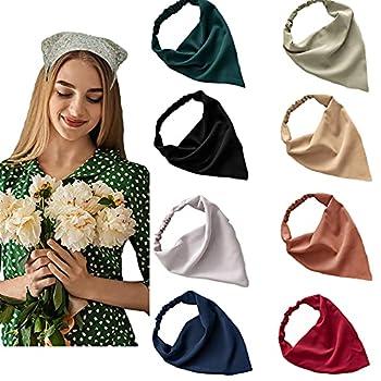 Elastic Hair Scarf Headbands for Women Solid Bandana Headbands Chiffon Head Kerchief Boho Scarf Bandanas with Hair Clips  8 Colors Solid A