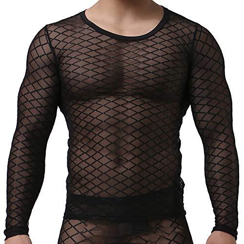 Sking Sexy Männer Schiere Transparent T-Shirt Langarm Tank Top Shirt Nachtwäsche Netz Schwarz Weiß M LXL (XL, Schwarz)