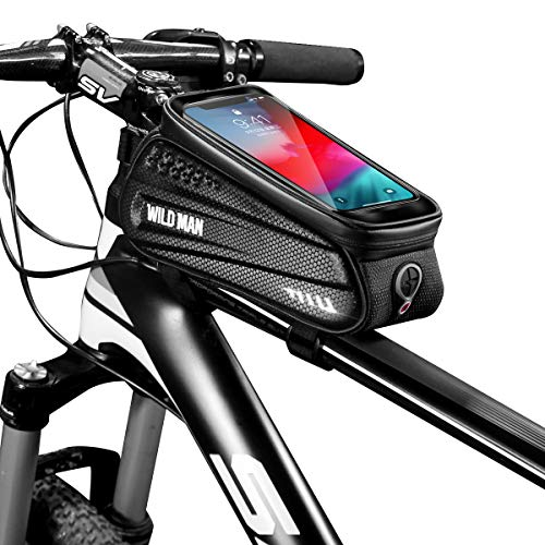 WILD MAN Upgraded Bike Front Frame Phone Bag, Waterproof Large Capacity Bicycle Top Tube Handlebar Bag Bike Mount Bag with Touch Screen Phone Holder Case for Android/iPhone X 10 11 Plus Under 6.5""