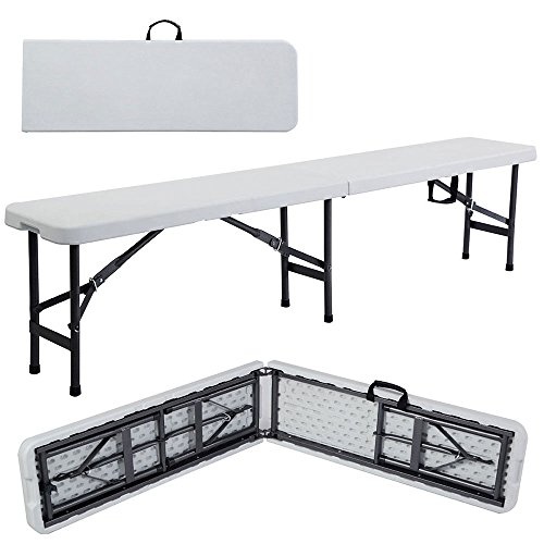 VINGLI 6 feet Plastic Folding Bench,Portable in/Outdoor Picnic Party Camping Dining Seat,Off-White Garden Soccer Multipurpose Entertaining Activities