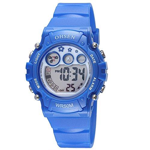 Infantiles Niños Niñas Relojes Deportivos Impermeable Digital Led Multifunción Al Aire Libre Reloj De Pulsera Azul