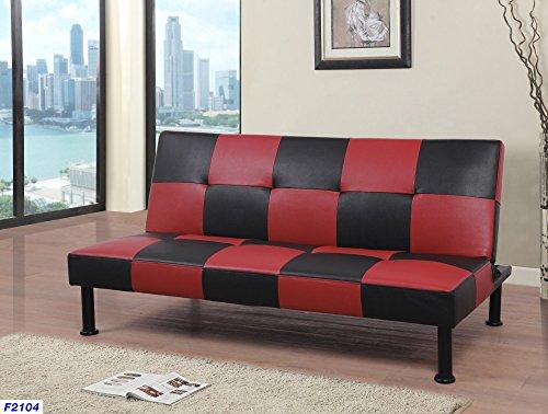 Beverly Fine Furniture Checkered Futon Sofa Bed, 64' x 39' x 14.5-30.5' H, Black