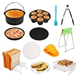 DricRoda 7 Inch Air Fryer Accessories, 12 Pcs with Cake Barrel, Pizza Pan, Cupcake Pan, Skewer Rack, Oven Mitts for Growise Phillips Cozyna Air Fryer 3.7QT-5.3QT, Nonstick Coating