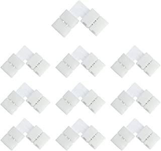 LightingWill 10pcs Pack L Shape Solderless Snap Down 2Conductor LED Strip Connector for Right Angle Corner or 90 degree Co...