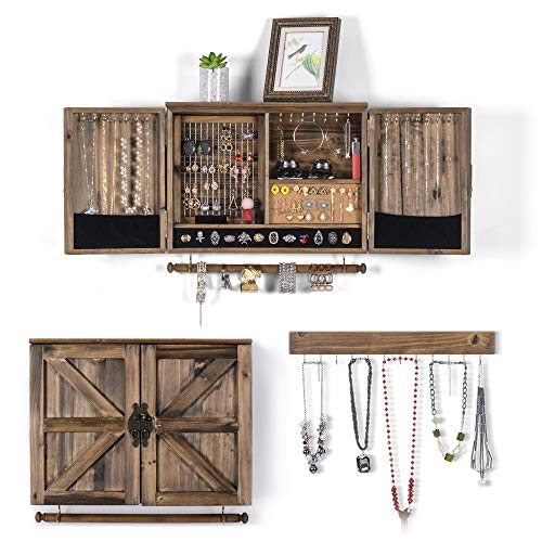 Sunix Rustic Wall Mounted Jewelry Organizer with Wooden Barn Door for Home Decor, for Necklaces,Earings, Bracelets,Ring Holder,with Removable Bracelet Rod, Includes Hook Organizer for Hanging Jewelry