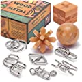 Brain Teasers Metal and Wooden Puzzles for Kids and Adults 9 Pack, Mind, IQ, and Logic Test and Handheld Disentanglement Games, 3D Coil Cast Wire Chain and Durable Wood Educational Toys
