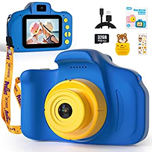Peradix Cámara para Niños con 32GB TF, Camara Foto Niños, 1080P HD Selfie Video Cámara Infantil, Camara de Fotos para Niños, Cámara Digital para Niños, Regalos de Juguete para Niños(Azul)