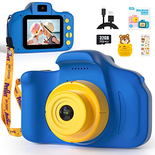 Peradix Appareil Photo Enfants - Mini Caméra Numérique Rechargeable Caméscope avec Dragonne,Photo/Vidéo de 1080P HD 12MP Carte SD 32 G,Cadeaux Jouets pour Garçons et Filles de 3 à 10 Ans