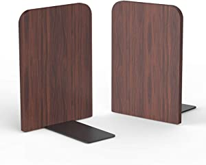 T ATHINK Walnut Wood Bookends, Heavy Duty Desktop Rustic Book Ends Stand Shelves Support Tons of Books, Nonskid