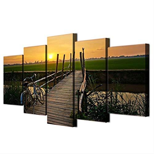 DGGDVP Modern kunstwerk HD Print Decor Room 5 stuks brug fiets zonneschijn landschap schilderij muurkunst poster modulaire afbeeldingen canvas 40x60cmx2,40x80cmx2,40x100cmx1 Met frame.
