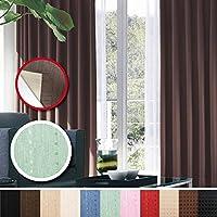 窓美人 センチュリオン 完全遮光 特殊コーティングカーテン 幅100×丈200cm 2枚入り グリーン ストライプ柄 断熱・遮熱・防音 形状記憶付