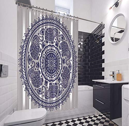 QAQA Lotus Elefant Shapes Tribal Dekorative Ornament blau & weiß Artwork Duschvorhang 1,8 cm x 2 m mit Haken