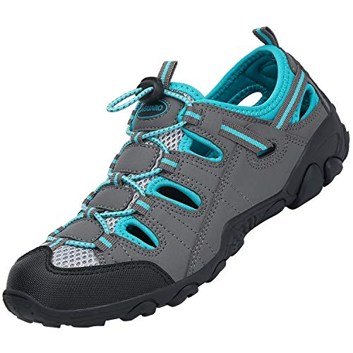 SAGUARO Sandalia Deportiva Ajuste Piso para Hombre Mujer Sandalias de Senderismo Zapatos de Montaña Antideslizante Verano, Light Grau 40