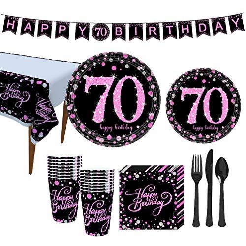 Amosfun 114pcs Verjaardag Party Decoraties Kit Hangende Glitter Banner Tafelkleed Wegwerp Dinnerware Papier Cup Platen Servetten