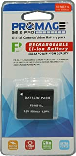 PROMAGE BATTERY FOR CANON NB11L Compatible With Canon Video/Digital Camera Canon lxus 125 HS 150 HS 240 HS Capacity: 680mAh