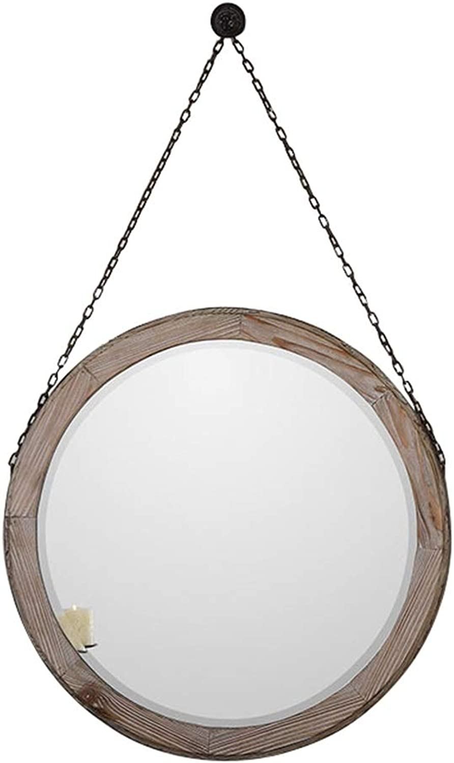 Retro Hanging Mirror as Decorative Wall Bathroom Mirror   Wall Mounted Vanity Mirror and Shaving Mirror   Vintage Wood Frame Mirror Holder (Size   Diameter 50cm)
