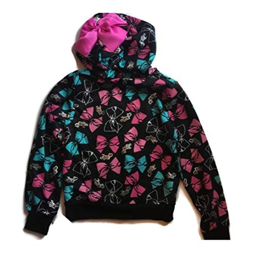 Girls Jojo Siwa Fleece Sweatshirt Lightweight Hoodie (Large 10-12), Black