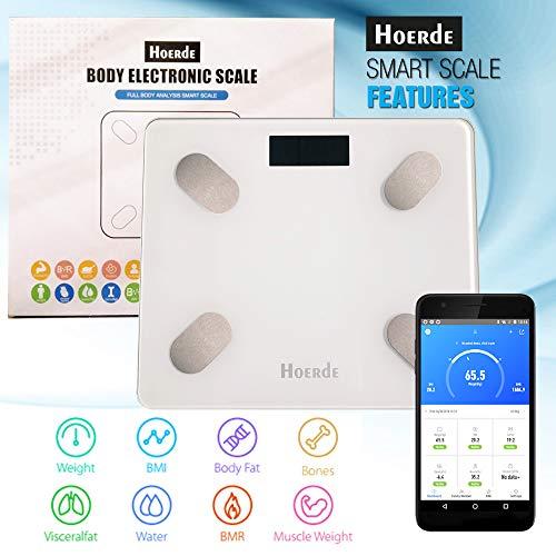 Hoerde Personenwaage mit App - Bluetooth Fitness Körperwaage/Körperfettwaage für Gewichtskontrolle und Diagnostik - Waage mit Fettmessung und mehr