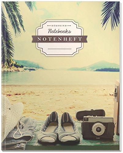 DÉKOKIND Notenheft | DIN A4, 64 Seiten, 12 Notensysteme pro Seite, Inhaltsverzeichnis, Vintage Softcover | Dickes Notenbuch | Motiv: Relax
