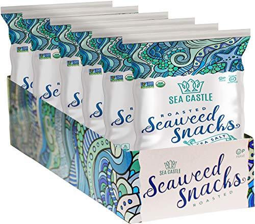 Sea Castle Organic Roasted Seaweed Snack with Sea Salt .35 Oz. (6 Pack) Gluten Free, Keto Friendly, Non GMO Verified, Kosher