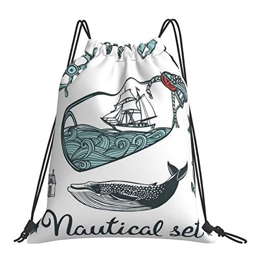 Nicegift Botella náutica vintage dibujada a mano,viajes para adultos,deportes,fitness,mochila universal con cordón