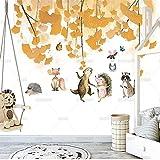Fotomurales Papel Tapiz Simple Moderno Pintado A Mano De Dibujos Animados Hoja De Arce Papel Tapiz De Animales Pequeños Mural Habitación De Niños Sofá Dormitorio Fondo Seda 350X256Cm
