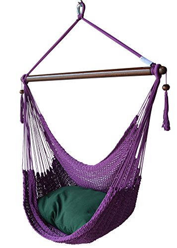 Caribbean Hammocks Chair with Footrest - 40 inch - Soft-spun Polyester - (Purple)