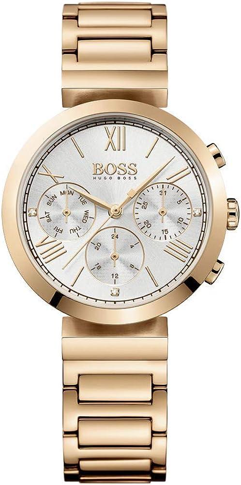 Hugo boss orologio cronografo da donna con cassa e cinturino in acciaio inox 1502399