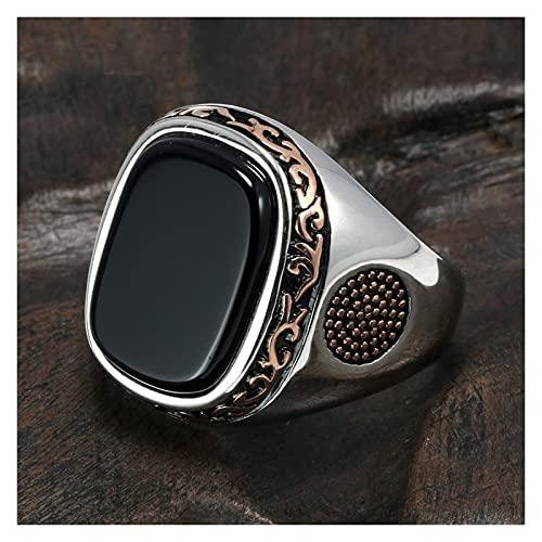 JSJJPLM Ágata Natural Anillos Reales para Hombre Pure S925 Retro Vintage Anillos turcos para Hombres con Piedras Negras Naturales de ónix joyería de Pavo (Ring Size : 10)