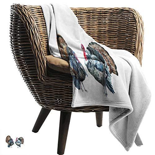 ZSUO picknickdeken waterdicht Turkije, aquarel gevogelte dieren borstel beroerte effect landbouw elementen vogels ontwerp, Multi kleuren alle seizoenen licht gewicht woonkamer/slaapkamer