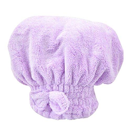 Douche séchage des cheveux Cap super absorbant l'eau Cap Bath Cap Pourpre