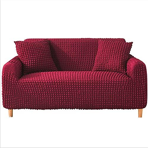 DANNEIL Fundas Sofa Elasticas, Tela De Poliéster Seersucker, para Sala De Estar, Fundas para Sofa Chaise Longue, Suave Y Cómoda, Lavable A Máquina (Wine Red,2 Seater 135-175cm)