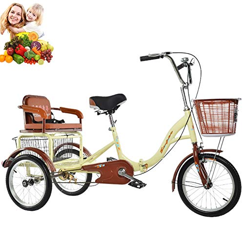 Tricycle 16inch Adult Kids 3-Wheel Bikes with Rear Basket and Rear seat Folding Tricycle Comfortable Scooter for The Elderly Ladies Bicycles 150kg Load Pick up Children