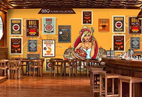 Tapete benutzerdefinierte Wandbild Amerikanischen Rindfleisch Steak Grill Icon Mural Grill Grill Hot...