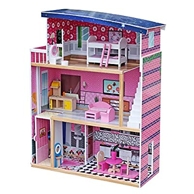 Amazon - Save 80%: Tenozek Sweet Wooden Pretend Play Dollhouse Doll Cottage with Furniture