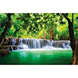 GREAT ART Large Photo Wallpaper – Thailand Waterfall – Picture Decoration Feng Shui Nature Jungle Scenery Paradise Vacation Asia Wellness Image Decor Wall Mural (132.3x93.7in - 336x238cm)