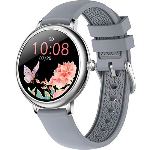 FXMJ Smartwatch con Pantalla Táctil De 1.08', Pulsera Actividad con Monitor De Frecuencia Cardíaca, Smart Watch A Prueba De Agua IP67, Podómetro, Rastreador De Sueño, para Hombres Y Mujeres,Gris
