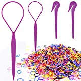Colorful Elastic Hair Bands, IKOCO 1000 Pcs Rubber Hair Bands 2 Pcs Topsy Hair Tail Tools 2 Pcs Pony Pick for Toddlers Girls